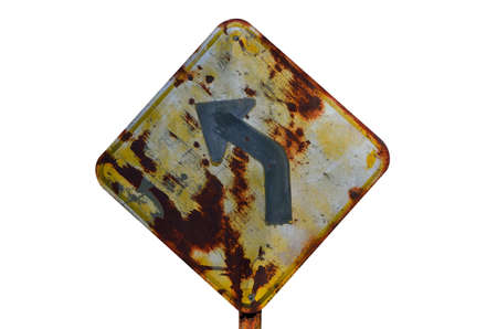 curve road: Old curve road sign on white background.