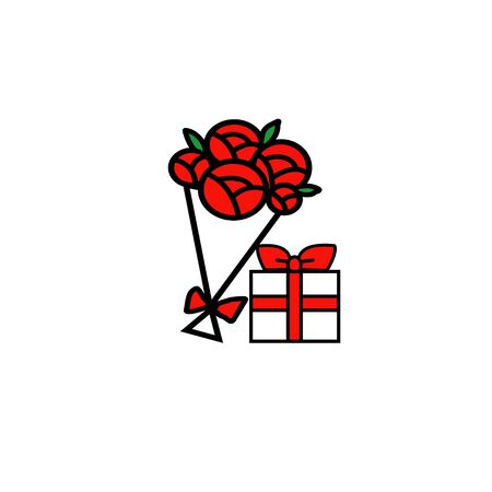 red gift box: Red rose and gift box cartoon hand drawing.