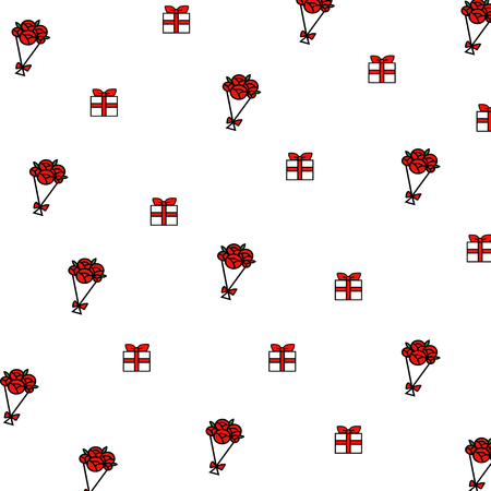 red gift box: Red rose and gift box cartoon hand drawing pattern background.