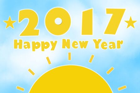 sky rise: Happy new year 2017 and sun rise on blue sky and white cloud abstract background. Graphic art design.