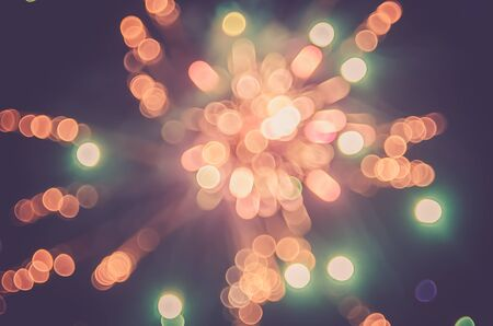 cerebrate: Colorful bokeh firework cerebrate happy new year. Happy party and holiday concept Vintage tone filter color style