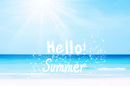 Beautiful Hello Summer Words Hand Writing On Tropical Beach Blue Sky And.. Stock  Photo, Picture And Royalty Free Image. Image 85069129. Photo