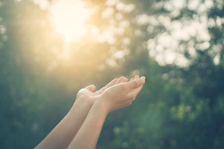 Frau offene Hand bis zum Sonnenuntergang Himmel und grüne Unschärfe Blatt Bokeh Sonnenlicht abstrakten Hintergrund. Farbstil mit Vintage-Tonfiltereffekt. Standard-Bild