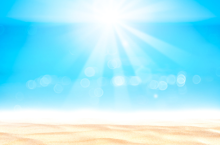 Summer vacation outdoor and travel holiday adventure concept.Copy space blur tropical beach with bokeh sun light wave on blue sky and white cloud abstract background. Vintage tone filter effect color. 版權商用圖片