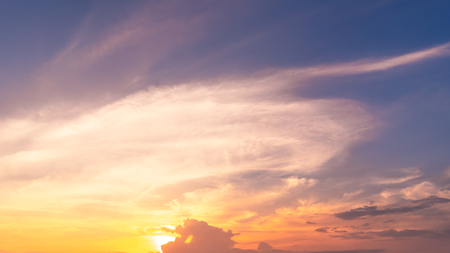 Sunset sky and clouds abstract background. Copy space of nature and environment.
