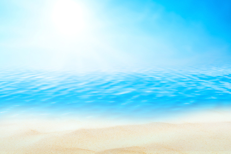 Summer vacation outdoor and travel holiday adventure concept.Copy space tropical ocean smooth wave beach with blue sky and white cloud abstract background. Vintage tone filter effect color style.