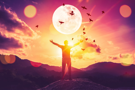 Copy space man raise hand up on top of mountain and birds fly with full moon abstract background. Freedom travel adventure and business victory concept. Vintage tone filter effect color style.