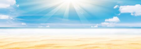Panorama view of blur beautiful tropical beach with bokeh sun light wave abstract background. Copy space summer vacation and business travel concept. Vintage tone filter effect color style.