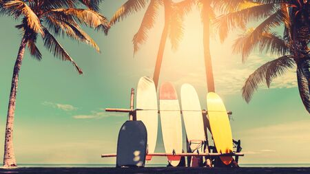 Surfboard and palm tree on beach double exposure with colorful bokeh sun light texture abstract background. Summer vacation and sport extreme concept. Vintage tone filter color style.