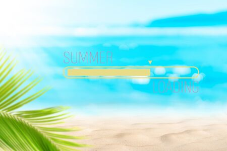 Hello summer words on blur tropical beach with bokeh sunlight wave abstract background. Summer vacation and travel holiday concept. Vintage tone filter effect color style.
