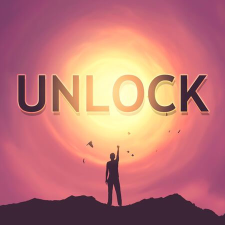 Unlock words with man raise hand up on top of mountain and birds flying sunset sky abstract background. Freedom and travel adventure concept. Vintage tone filter effect color style.