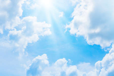 Blue sky and white clouds abstract background. Copy space nature and environment concept.