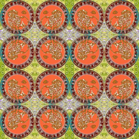 seamlessly: Seamless pattern zodiac Leo. For eg fabric, wallpaper, wall decorations.