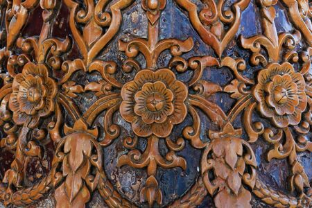 Carved Thai on the wood in doi suthep chiang mai thailand.