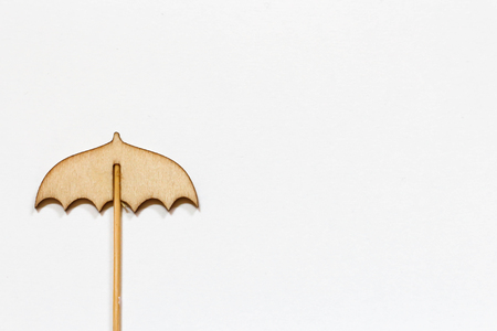 Wooden Umbrella on white background Standard-Bild - 122392920