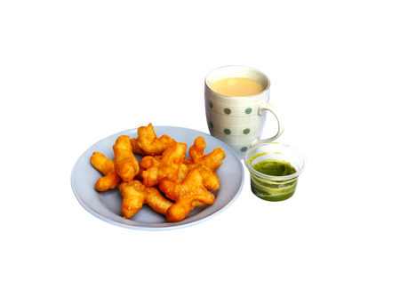 Soybean milk and deep-fried doughstick isolated on white background 版權商用圖片
