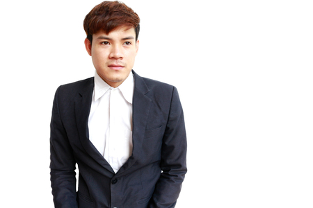 Asian young business man portrait isolated on white background.