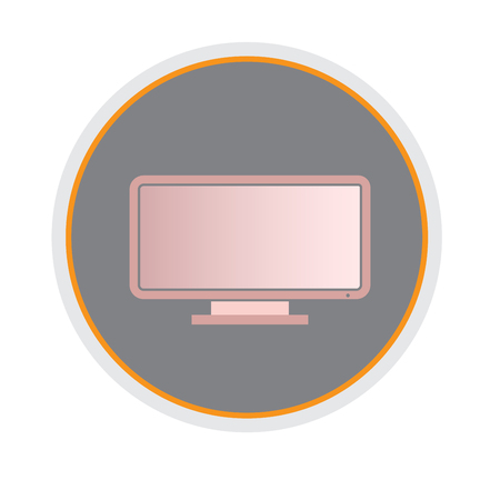 Monitor PC, computer monitor icon. screen flat style with shadow pink color. Vector illustration,. Illustration