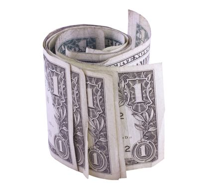 Roll dollars, isolated on background Stock Photo