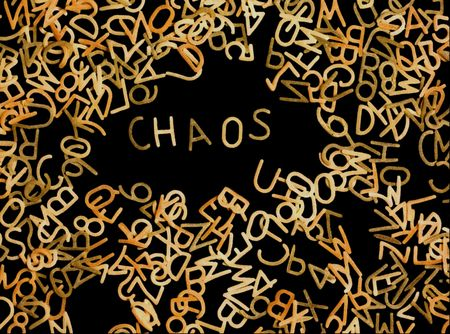 Chaotic arrangement of pasta alphabet
