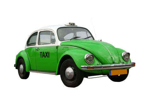 Mexican beetle taxi, the only one with a dutch licence plate, isolated on background (owned by photographer)