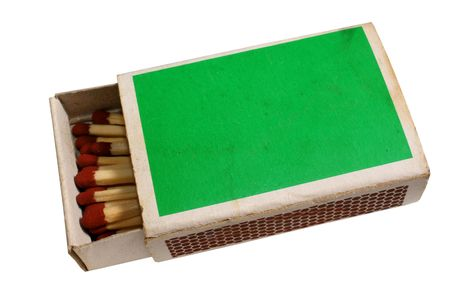 matchbox: Dirty partially filled matchbox, isolated on background