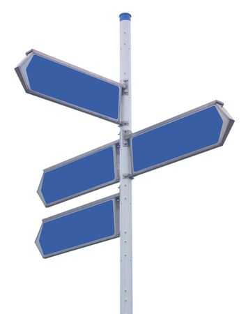 Traffic arrows pointing in several directions, isolated against background