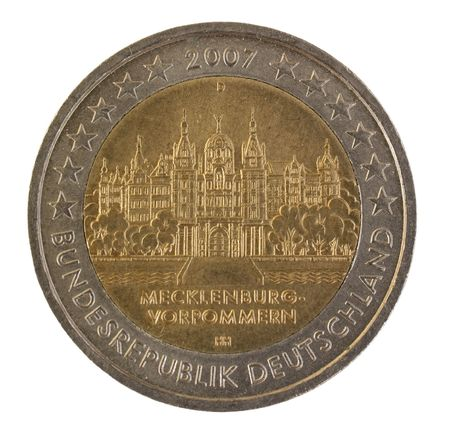 Special german euro coin from 2007, isolated against background