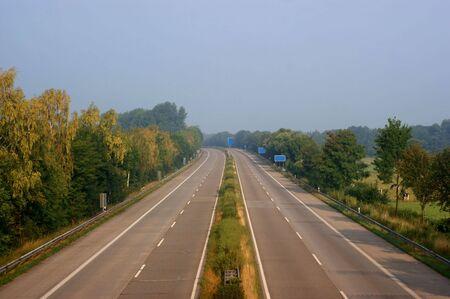 Empty highway (german autobahn) on a quiet morning Stock Photo