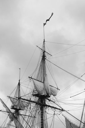 Crows nest of an old pirate sailboat, impression in black and white photo