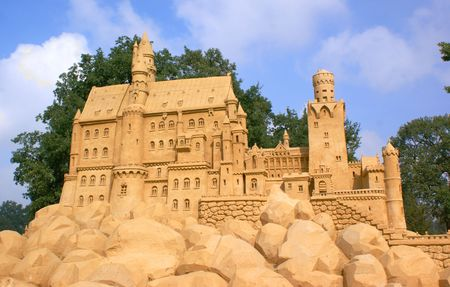 Castle made out of compressed sand Stock Photo