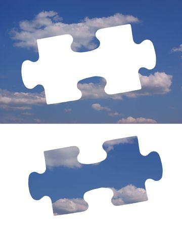 Jigzaw piece of a blue sky photo