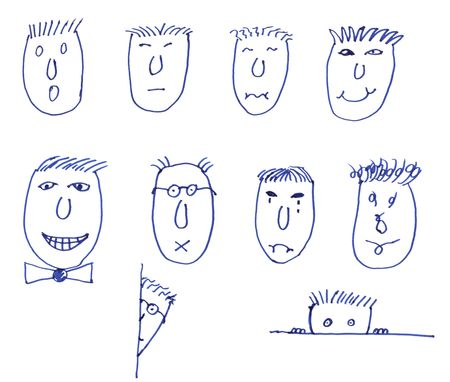 Various drawn faces with different emotions against a white background