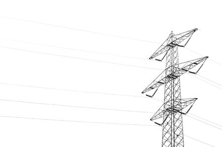 Electric transport wires against a white bacjground Stock Photo