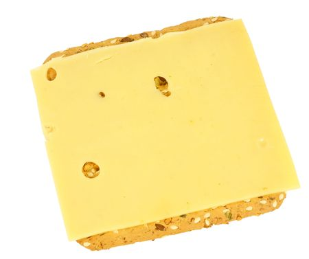 Healthy cracker with cheese, isolated on background