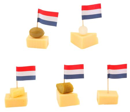 Gouda cheese snack with a dutch flag, isolated against background Stock Photo - 8087122