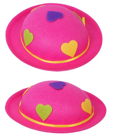 feld: Pink feld hat with hearths, isolated on background