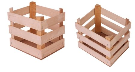 Series of empty woorden crates, isolated against background