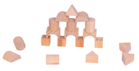 Wooden building blocks, isolated against background