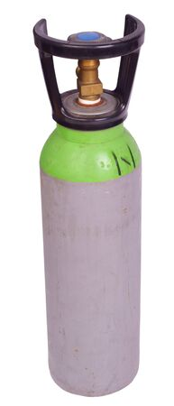 Green bottle of argon welding gas isolated against background Stock Photo