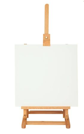 Easel with empty frame for your text or image, isolated on background Stock Photo