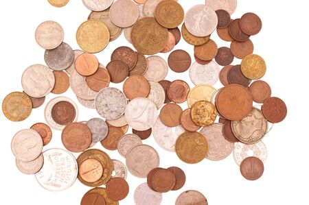 European coin collection (pre-euro), isolated against background Stock Photo