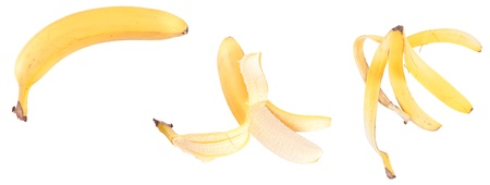 Series of a banana, isolated against background Stock Photo