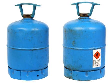 butane: Sucia antiguo butano cilindros de gas, aislados en contexto
