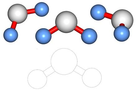 molecula de agua: Serie de 3D de procesamiento de una mol�cula de agua H20