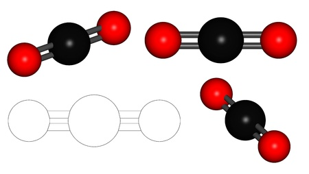 Series of 3D rendered carbondioxide (CO2) in officical colorscheme photo