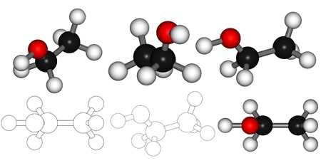 alcohol series: Series of 3D render alcohol  ethanol molecule in correct color code