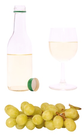 Grapes and white wine, isolated against background Stock Photo - 9177598