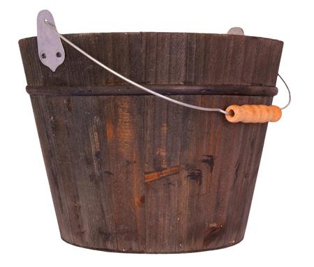 Wooden bucket, isolated on background