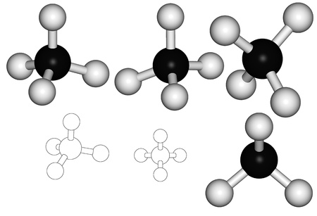 Series of methane molecule, illustration against white background Stock Photo
